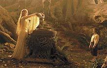 Setkání Froda Pytlíka s královnou Galadriel v jejím lesním království