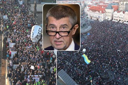 ONLINE Velký protest proti Babišovi: Odstup, satane, bouří tisíce lidí v centru Prahy