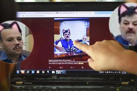 Ministr s kočičími oušky. Politik vysílal živě tiskovku na facebooku, zapomněl vypnout filtry
