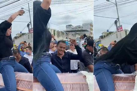 Šokující video z pohřbu: Žena předvedla sexy taneček na rakvi s nebožtíkem!