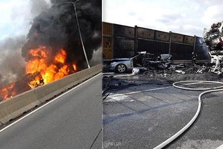 Tragická hromadná nehoda na D1 u Brna: Žena a dítě uhořely v autě, dálnice stála 13 hodin!
