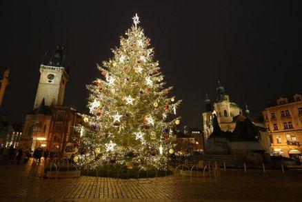 FOTO: Vánoční strom na Staroměstském náměstí v celé své kráse! Takhle vypadá rozsvícený
