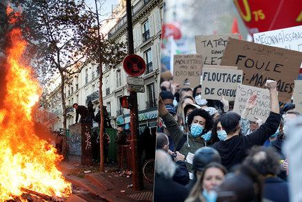 Ulice v plamenech a zuřící davy. Francouzi protestovali proti kontroverznímu zákonu