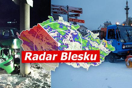 Sníh trápil řidiče, nehody měly i tragický konec. Sledujte radar Blesku a pozor na ledovku