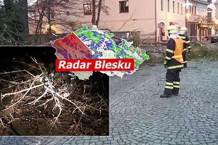 ONLINE: Sněžku bičoval orkán, vichr opět připravil o proud stovky Čechů. Sledujte radar Blesku
