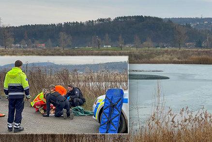Dramatický boj o život! Dvojice zachraňovala topícího se pejska, propadl se pod ní led