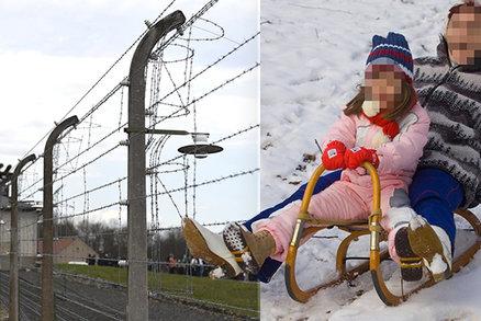 Neuvěřitelná bezohlednost: Lidé sáňkují u masových hrobů koncentračního tábora Buchenwald