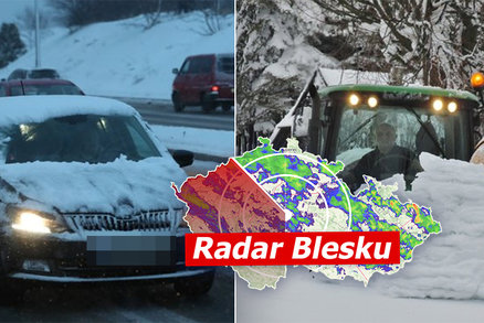 Česko zasáhl déšť svichrem, místy vydatně sněží. Přibývají nehody, sledujte radar Blesku