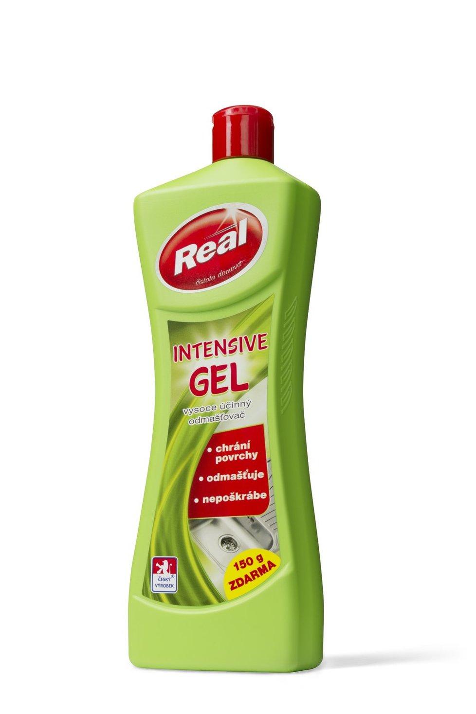 Real intensive gel se silným odmašťujícím účinkem. Zvládne vyčistit i podlahu t a hodí se i na plasty. Má gelovou konzistenci a příjemně voní po zeleném čaji a mátě.  41 Kč.