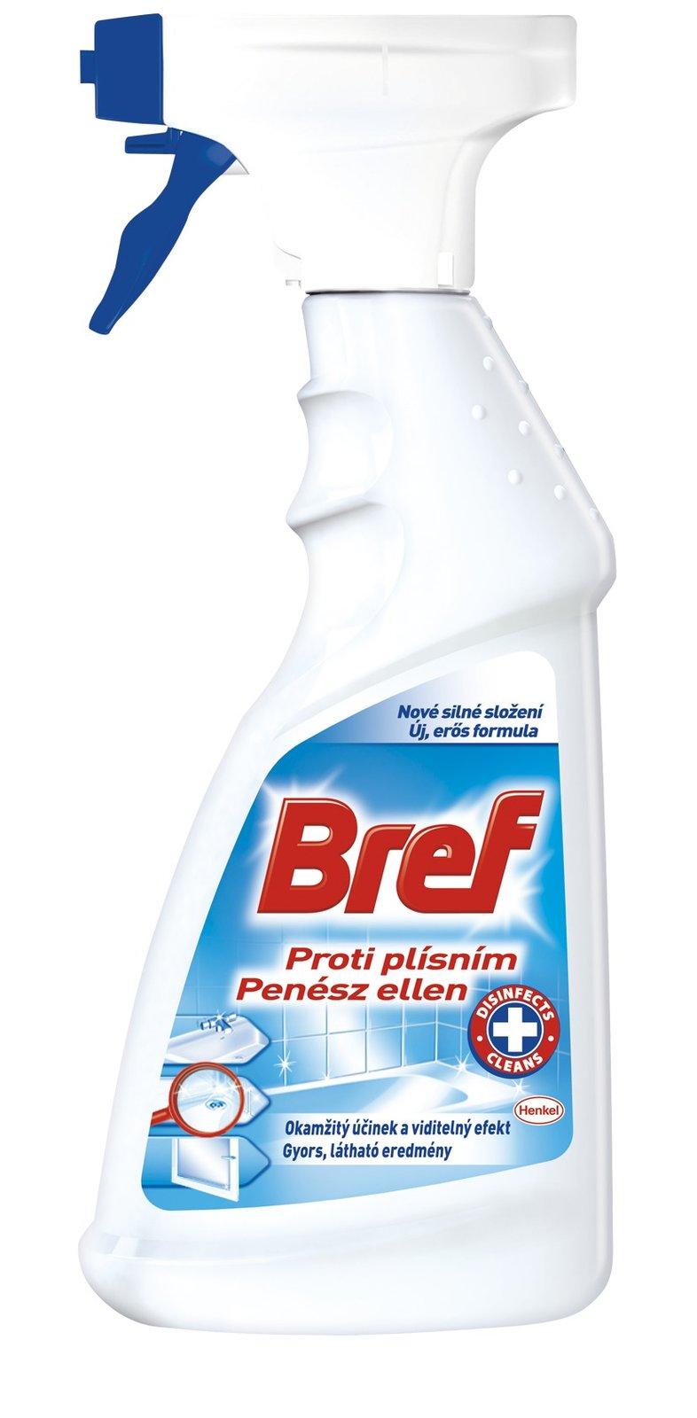 Bref Proti plísním odstraňuje skvrny a nečistoty a  bojuje proti bakteriím a plísním. 65 Kč