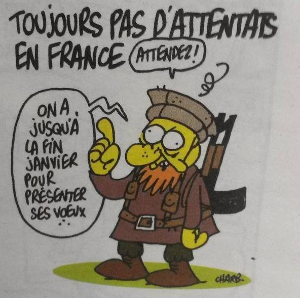 Poslední kreslený vtip, který vyrobil šéfredaktor časopise Stephane Charbonnier jen pár minut před tím, než byl zavražděn