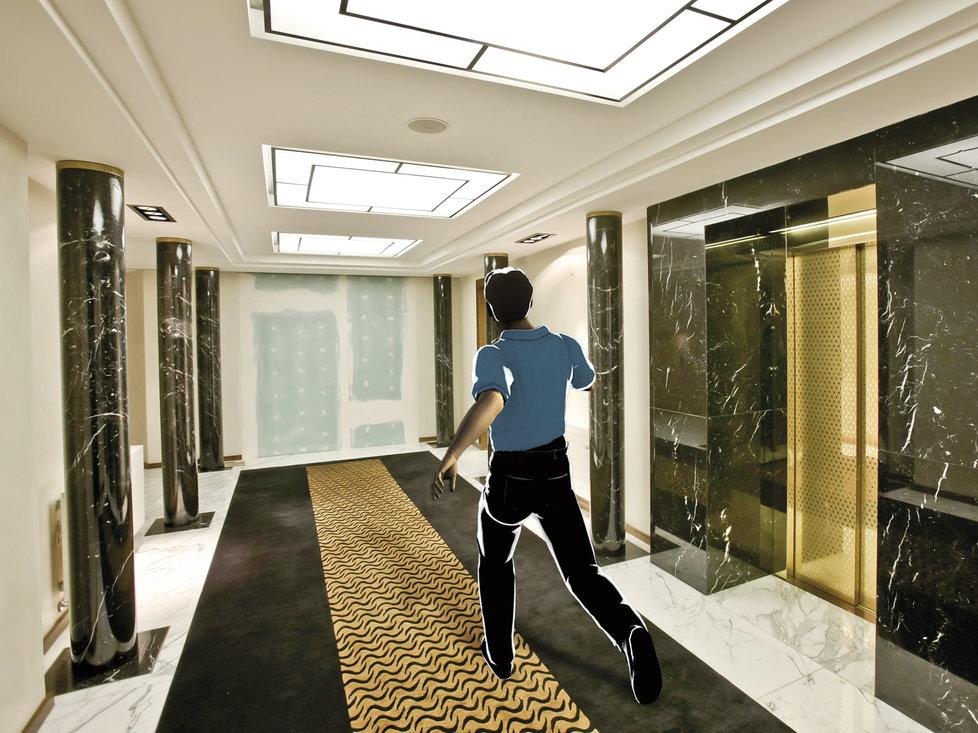 Vrátil se do vily a proběhl kolem zlatého výtahu.