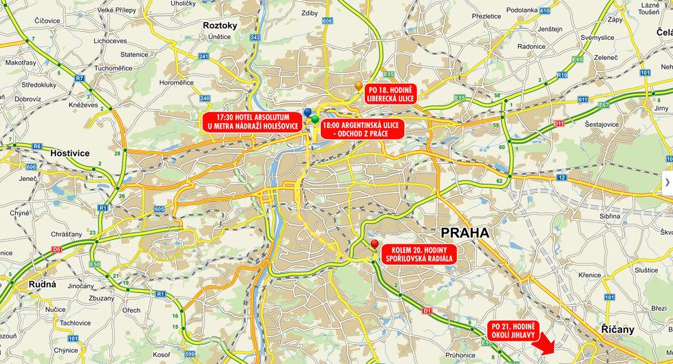 Tudy se pohybovala pohřešovaná manažerka před odjezdem z Prahy.