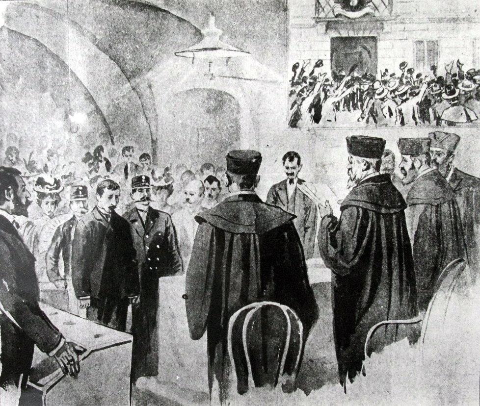 Hilsner před soudním tribunálem.