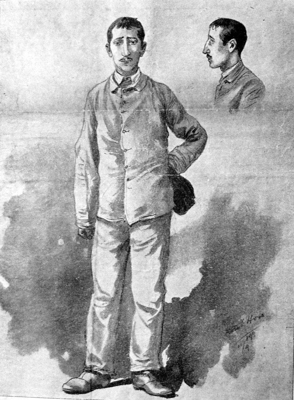 Leopold Hilsner v kresbě po svém odsouzení.