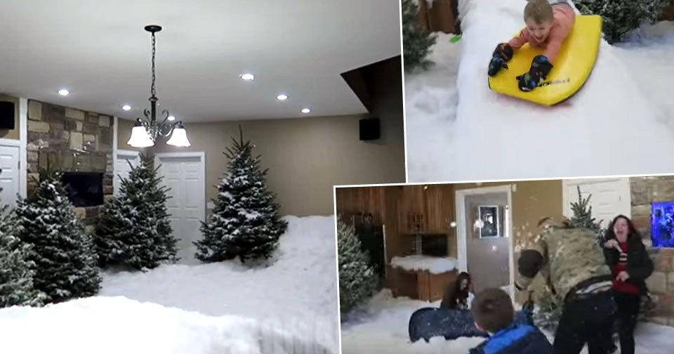 Táta proměnil obývák v zimní areál.