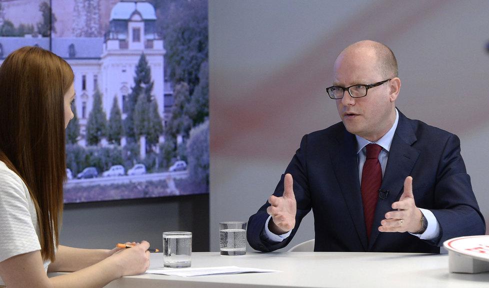 Bohuslav Sobotka (ČSSD) během pořadu Ptám se, pane premiére