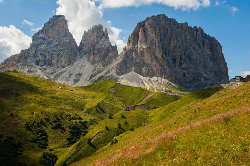 Pohled na italské dolomity z Karnských Alp