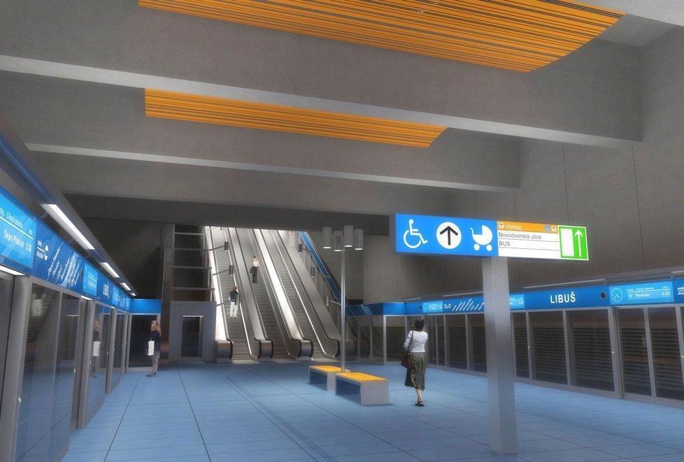 Vizualizace stanice metra D v Libuši
