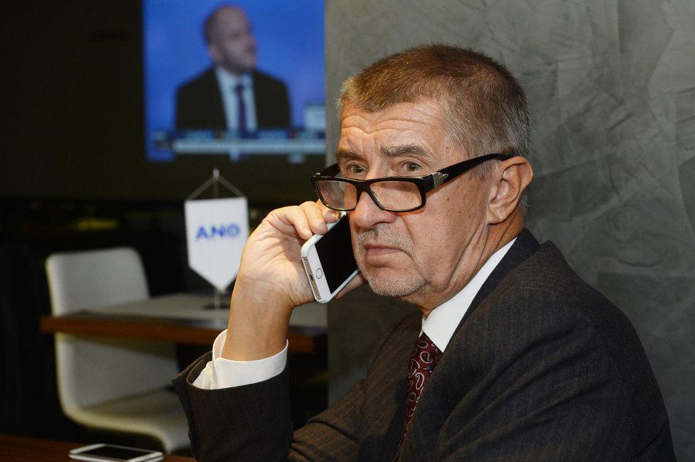 Krajské volby 2016: Andrej Babiš ve štábu ANO