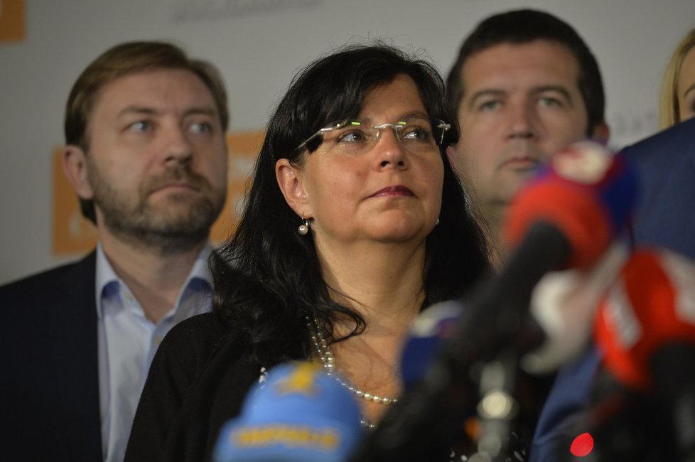 Krajské volby 2016: Michaela Marksová během tiskovky ve štábu ČSSD
