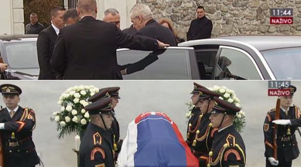 Prezident Zeman přijel pozdě na státní pohřeb na Slovensku.