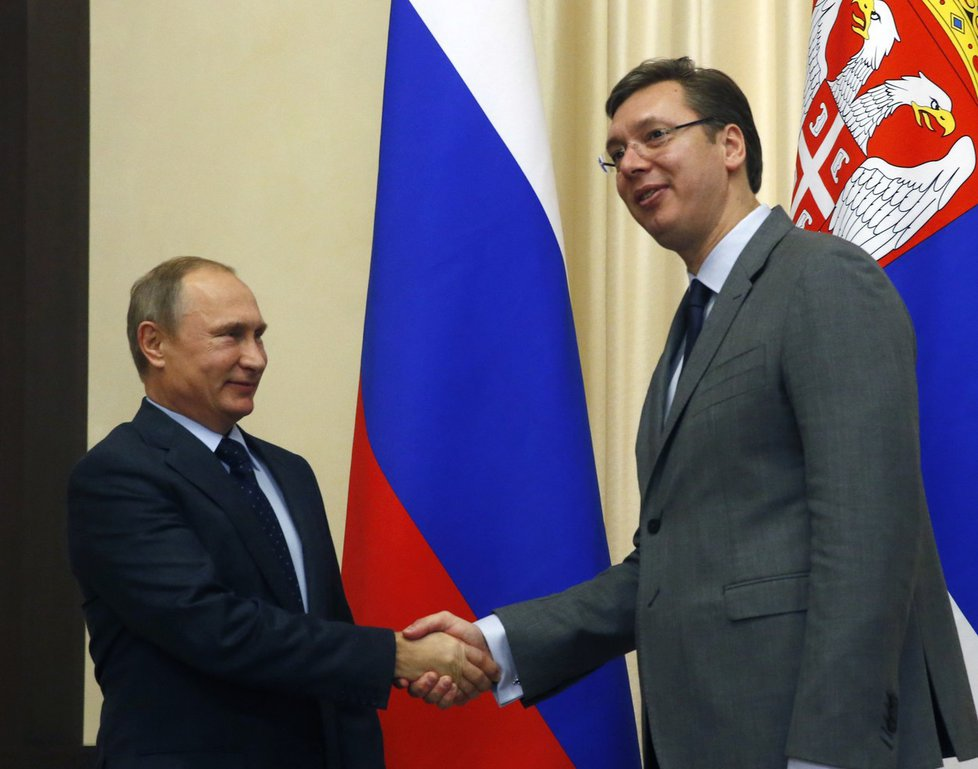 Ruský prezident Vladimir Putin a srbský premiér Aleksandar Vučič