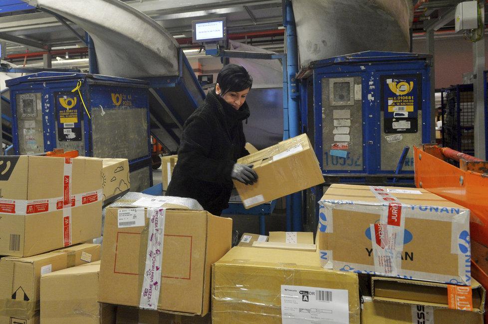 Pracovní cvrkot v předvánoční poštovní třídírně Malešice
