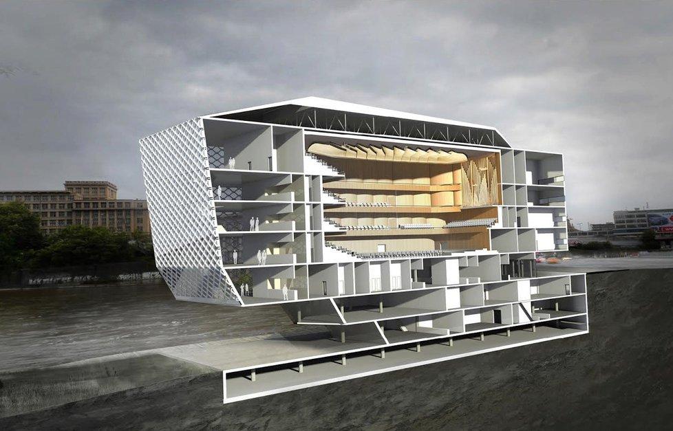Návrh budovy nové koncertní síně na ostrově Štvanice