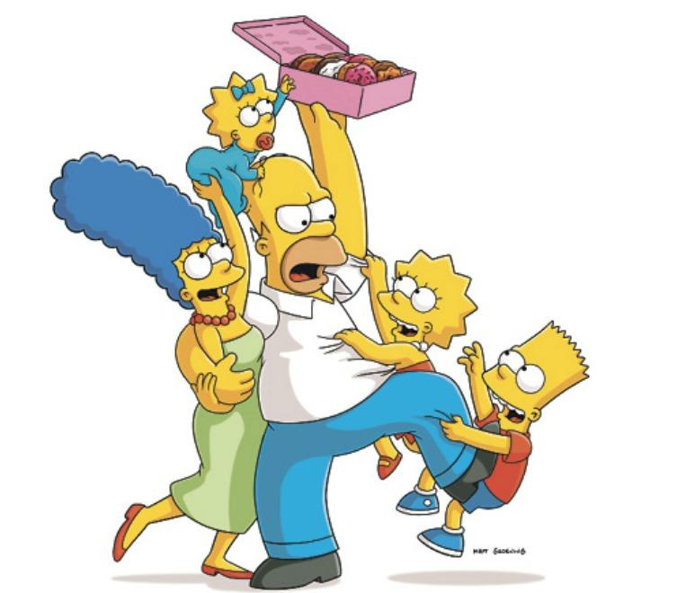 Rodina Simpsonových: Máma Marge, otec Homer, děti Líza, Bart a malá Maggie
