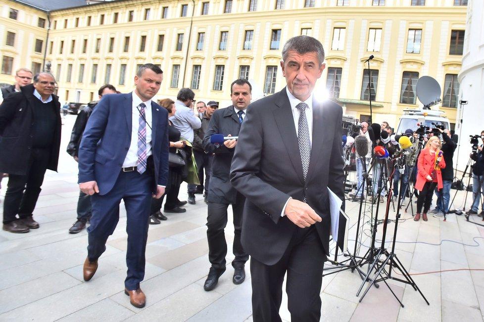 Vicepremiér Andrej Babiš (ANO) po schůzce na Hradě s prezidentem Milošem Zemanem