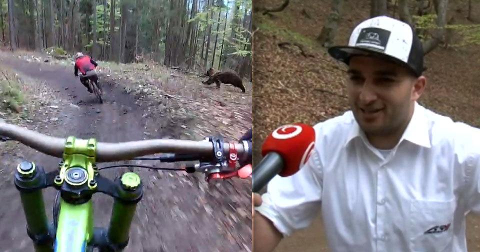 Ostravský biker Alan Pukowiec se na Slovensku potkal s medvědem.