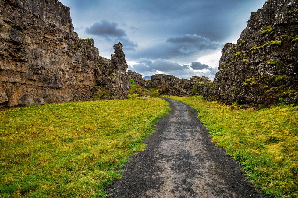 Národní park Þingvellir nedaleko Reykjavíku.