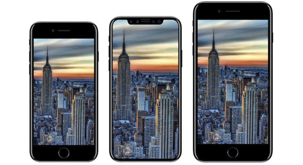 Zleva: iPhone 8, iPhone X a iPhone 8 Plus
