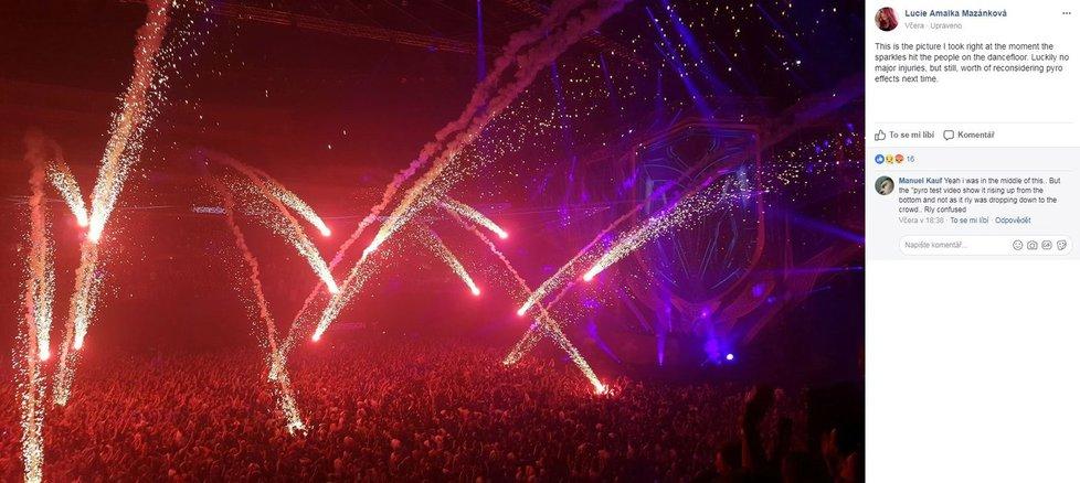 Fanoušky elektronické hudby v O2 areně popálil ohňostroj: Lidé skončili s popáleninami.