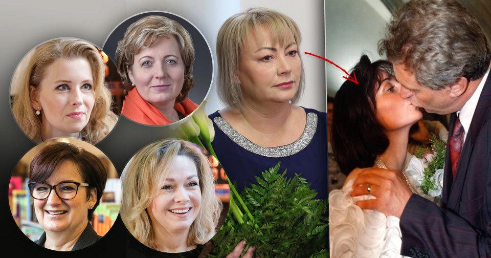 První dáma Ivana Zemanová se svým mužem Milošem. A adeptky na její post Horáčková, Fischerová, Drahošová a Talmanová