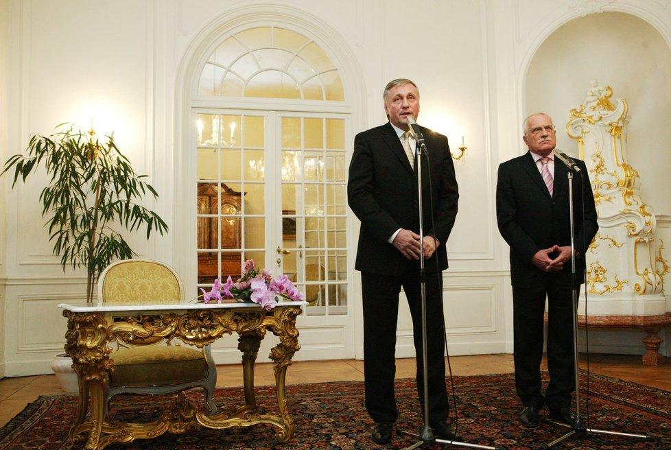 Mirek Topolánek na novoročním obědě v Lánech s tehdejším prezidentem Václavem Klausem 2. 1. 2008