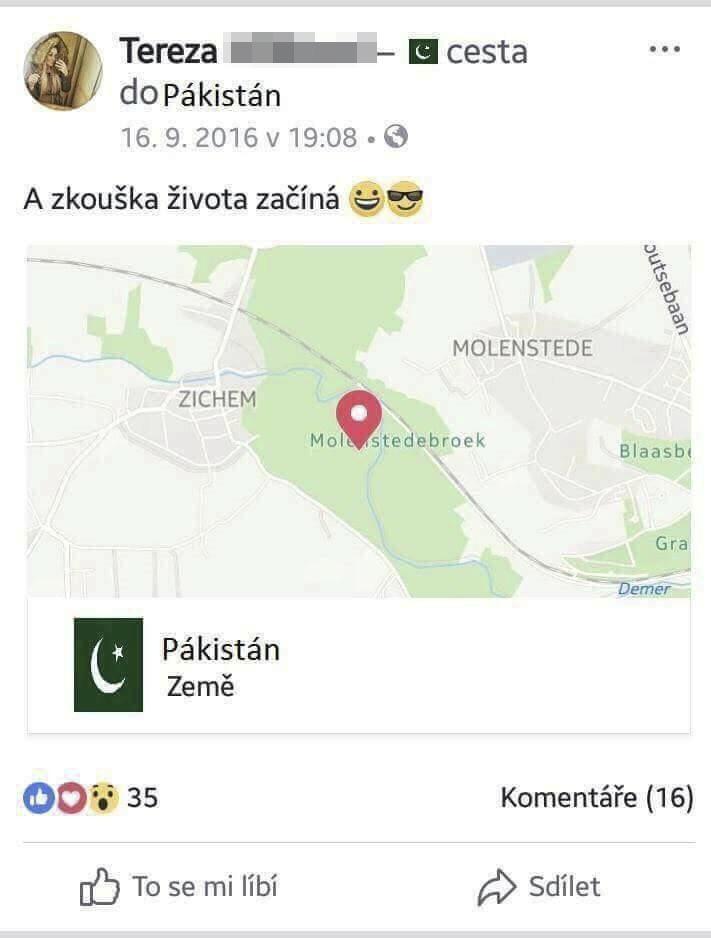 Tereza svým přátelům na Facebooku oznámila, že míří do Belgie. Skončila ale zatčená v Pákistánu... Šlo o její první pašerácký kšeft?