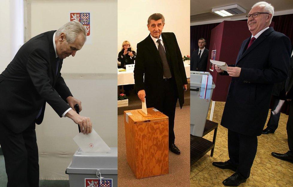 Miloš Zeman, Andrej Babiš a Jiří Drahoš u voleb