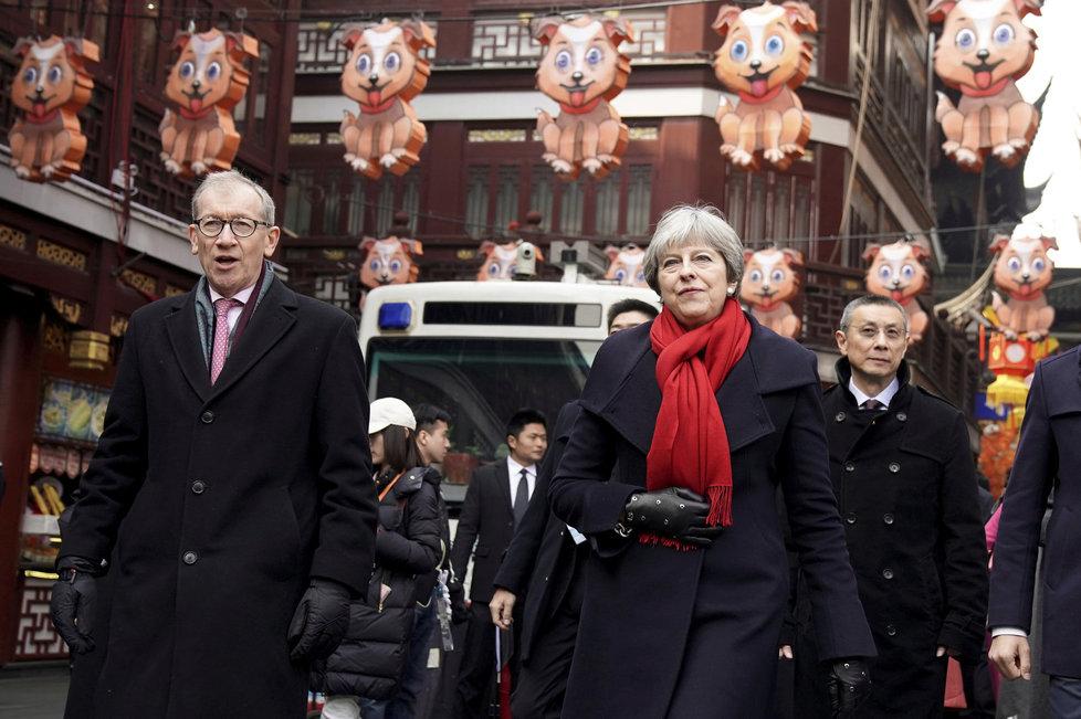 Britská premiérka Theresa Mayová s manželem Phillipem v Číně