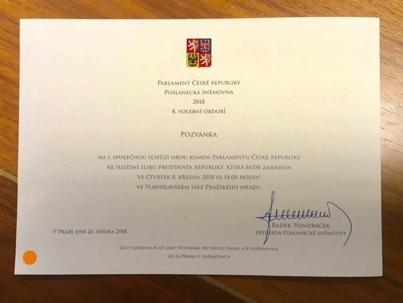 Pozvánka na 1. společnou schůzi obou komor parlamentu k inauguraci prezidenta (8. 3. 2018)