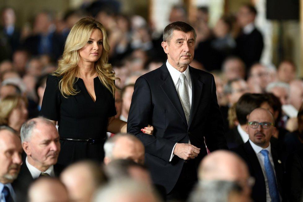 Andrej Babiš s manželkou na inauguraci Miloše Zemana