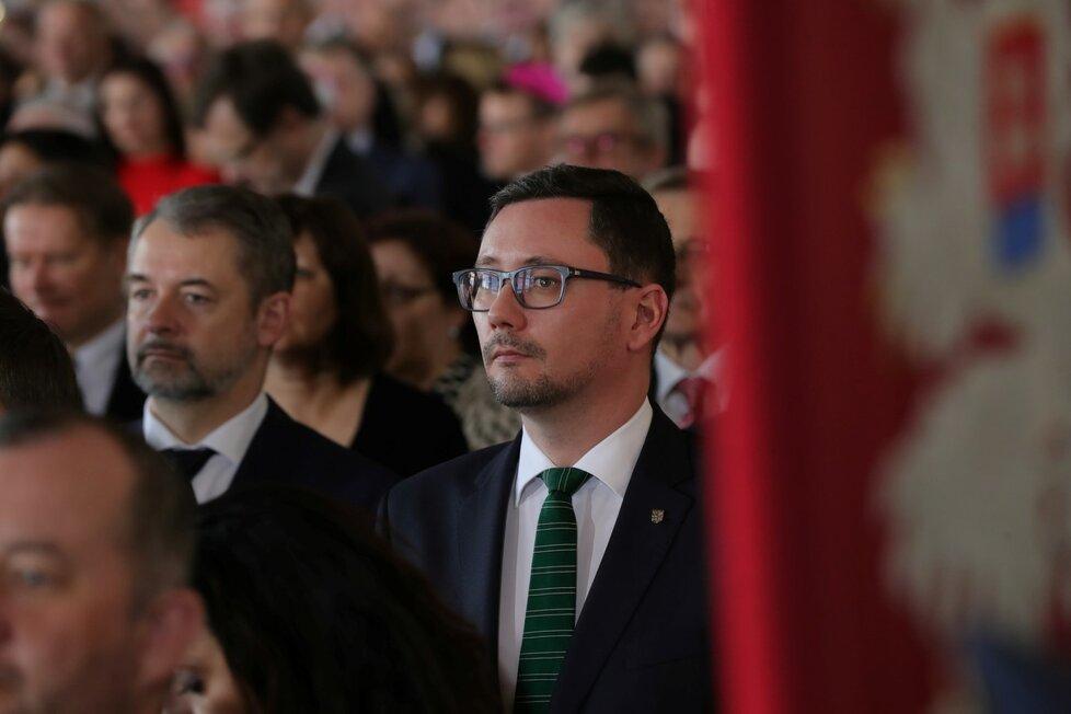 Jiří Ovčáček během inauguračního projevu prezidenta