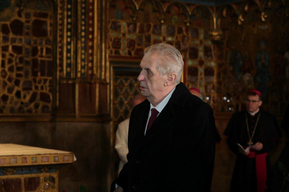 Miloš Zeman s rodinou po inauguraci v katedrále svatého Víta (8. 3. 2018)