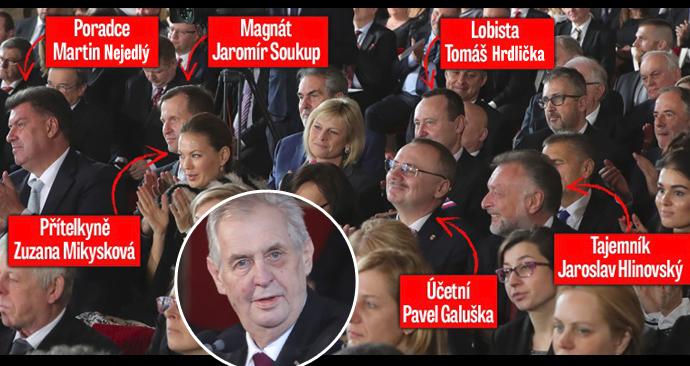 Inaugurace Miloše Zemana: Do popředí usedli i Nejedlý či Soukup s přítelkyní