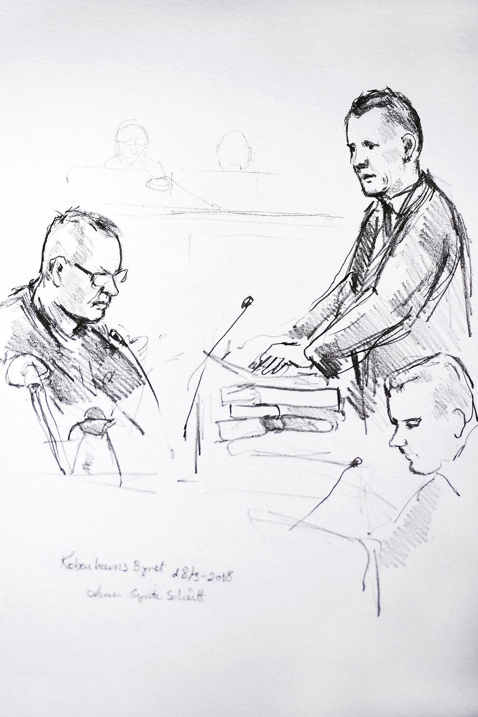 Skica ze soudního přelíčení s Peterem Madsenem.