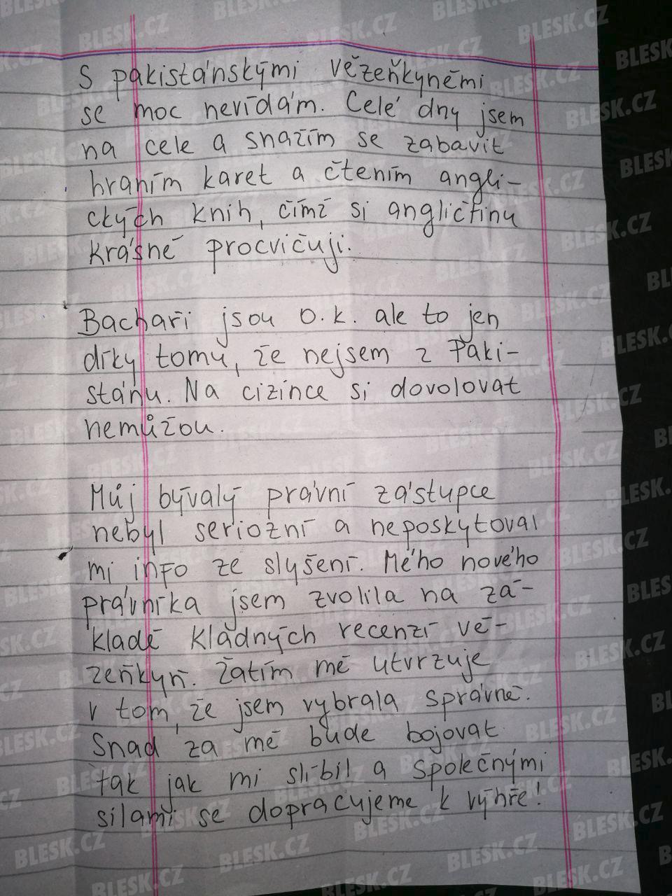 Tereza H. obviněná z pašování heroinu napsala Blesku z vězení dopis