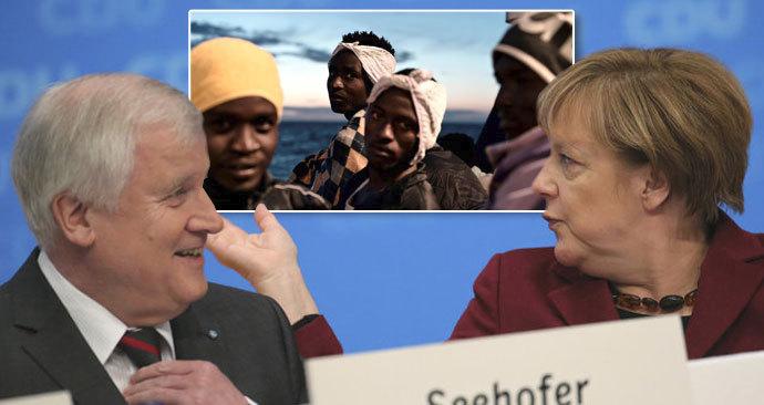 Merkelová a Seehofer ve sporu o migranty.