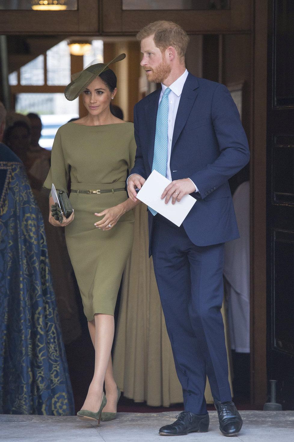 Princ Harry s vévodkyní Meghan na křtinách prince Louise