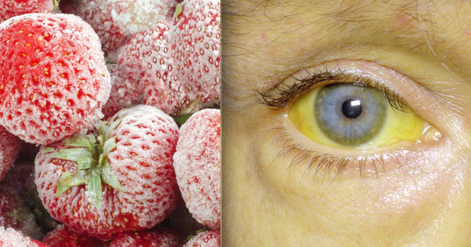 Zamrzlé žloutenkové jahody byly použity do zmrzlin